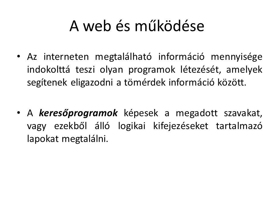 A web és működése Néhány nagyobb keresőoldal: http://www.google.com http://www.google.com http://www.bing.com http://www.bing.com http://www.yahoo.com http://www.yahoo.com http://www.baidu.com/ http://www.baidu.com/ http://www.altavizsla.hu/ http://www.altavizsla.hu/ http://www.wolframalpha.com/ http://www.wolframalpha.com/