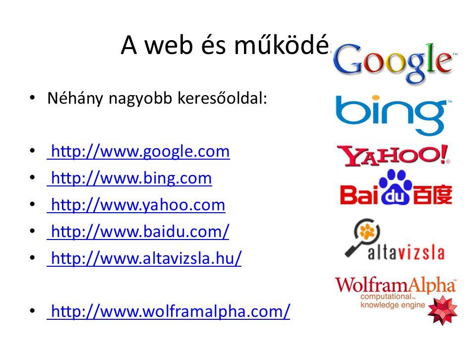 A web és működése Néhány nagyobb keresőoldal: http://www.google.com http://www.google.com http://www.bing.com http://www.bing.com http://www.yahoo.com