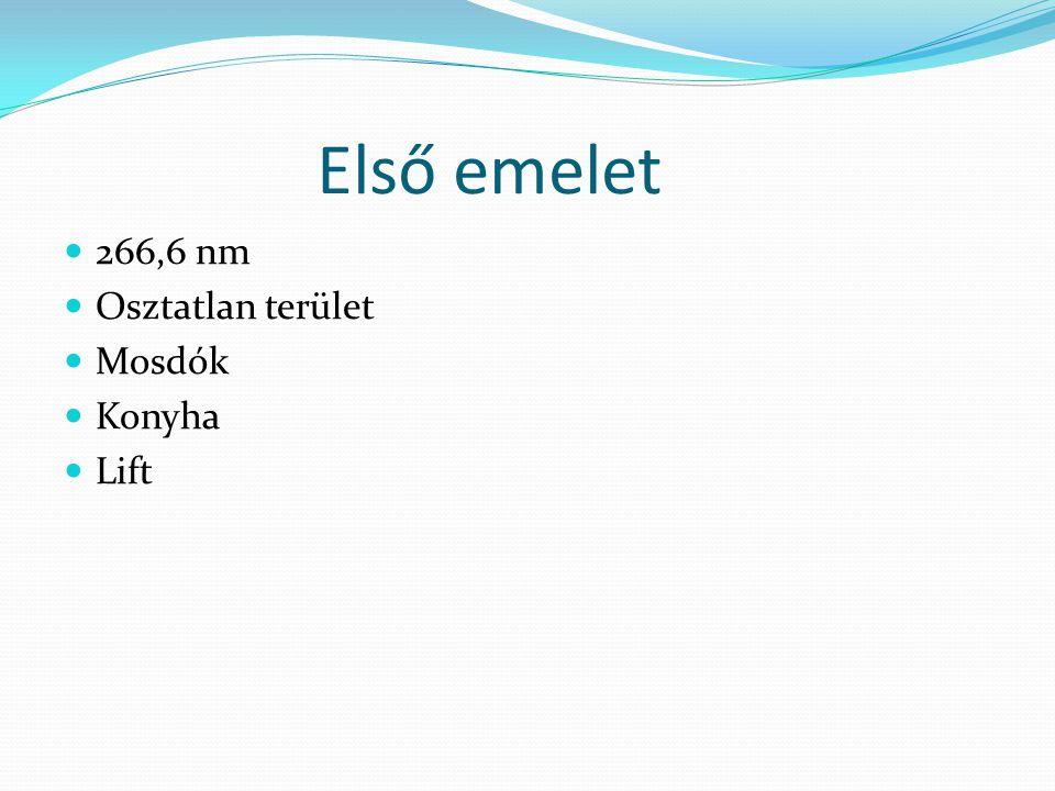 Első emelet 266,6 nm Osztatlan terület Mosdók Konyha Lift