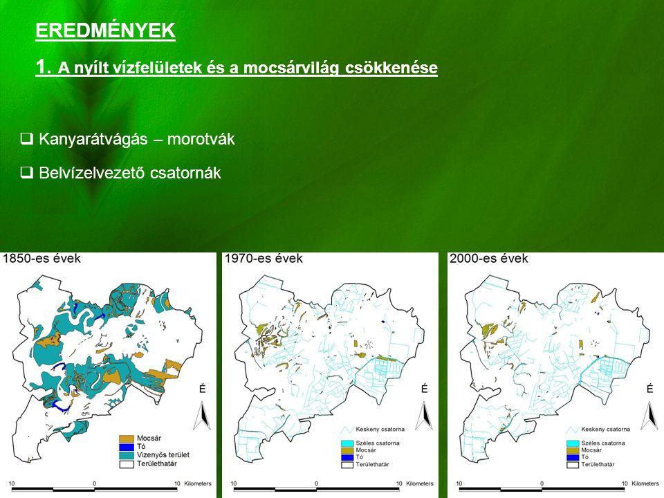 7 EREDMÉNYEK 1. A nyílt vízfelületek és a mocsárvilág csökkenése  Kanyarátvágás – morotvák  Belvízelvezető csatornák