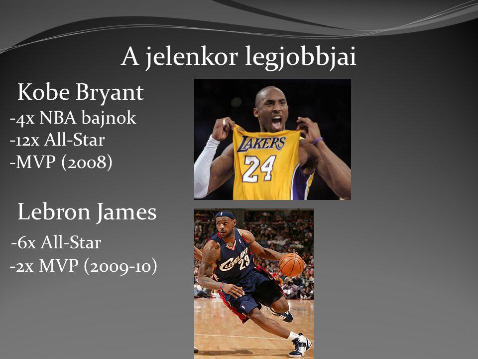 A jelenkor legjobbjai Kobe Bryant -4x NBA bajnok -12x All-Star -MVP (2008) Lebron James -6x All-Star -2x MVP (2009-10)