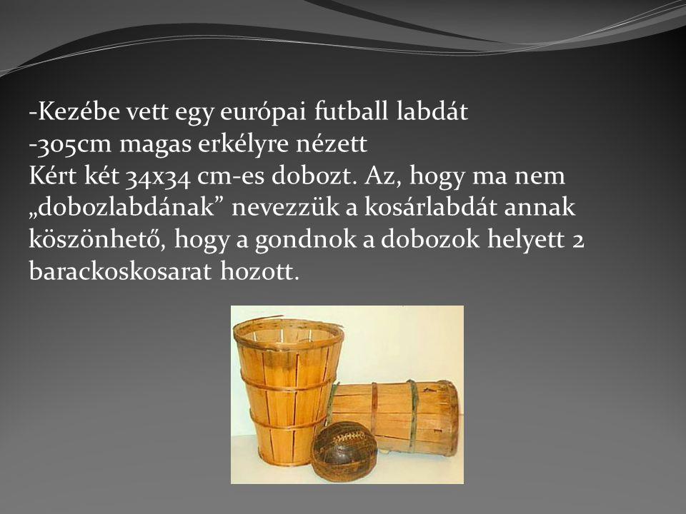 """-Kezébe vett egy európai futball labdát -305cm magas erkélyre nézett Kért két 34x34 cm-es dobozt. Az, hogy ma nem """"dobozlabdának"""" nevezzük a kosárlabd"""