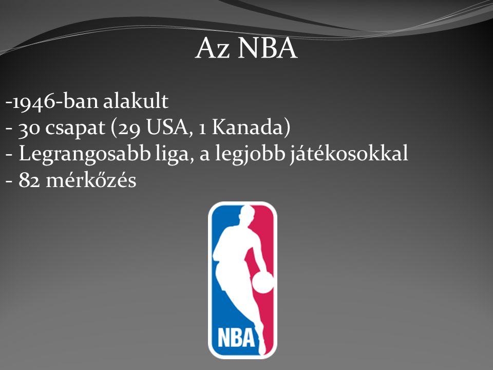 Az NBA -1946-ban alakult - 30 csapat (29 USA, 1 Kanada) - Legrangosabb liga, a legjobb játékosokkal - 82 mérkőzés