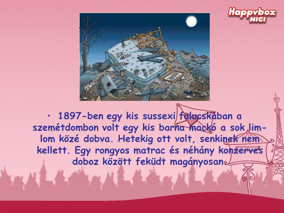 1897-ben egy kis sussexi falucskában a szemétdombon volt egy kis barna mackó a sok lim- lom közé dobva. Hetekig ott volt, senkinek nem kellett. Egy ro