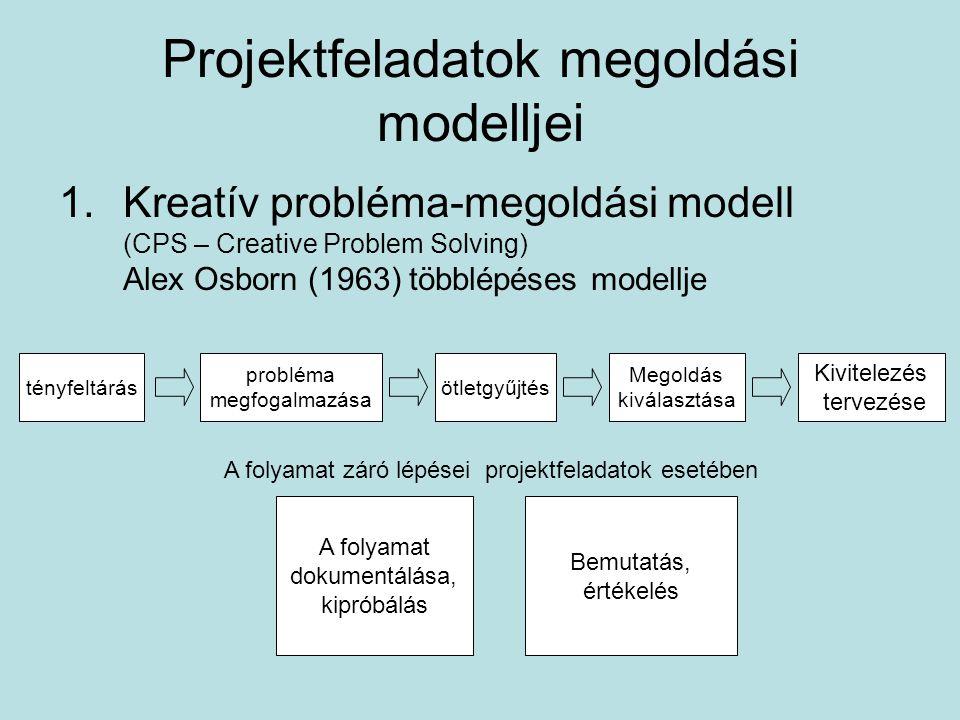 Projektfeladatok megoldási modelljei 1.Kreatív probléma-megoldási modell (CPS – Creative Problem Solving) Alex Osborn (1963) többlépéses modellje tényfeltárás probléma megfogalmazása Kivitelezés tervezése ötletgyűjtés Megoldás kiválasztása A folyamat dokumentálása, kipróbálás Bemutatás, értékelés A folyamat záró lépései projektfeladatok esetében