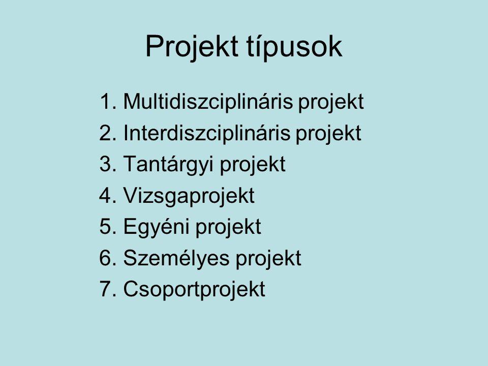 Projekt típusok 1. Multidiszciplináris projekt 2. Interdiszciplináris projekt 3. Tantárgyi projekt 4. Vizsgaprojekt 5. Egyéni projekt 6. Személyes pro