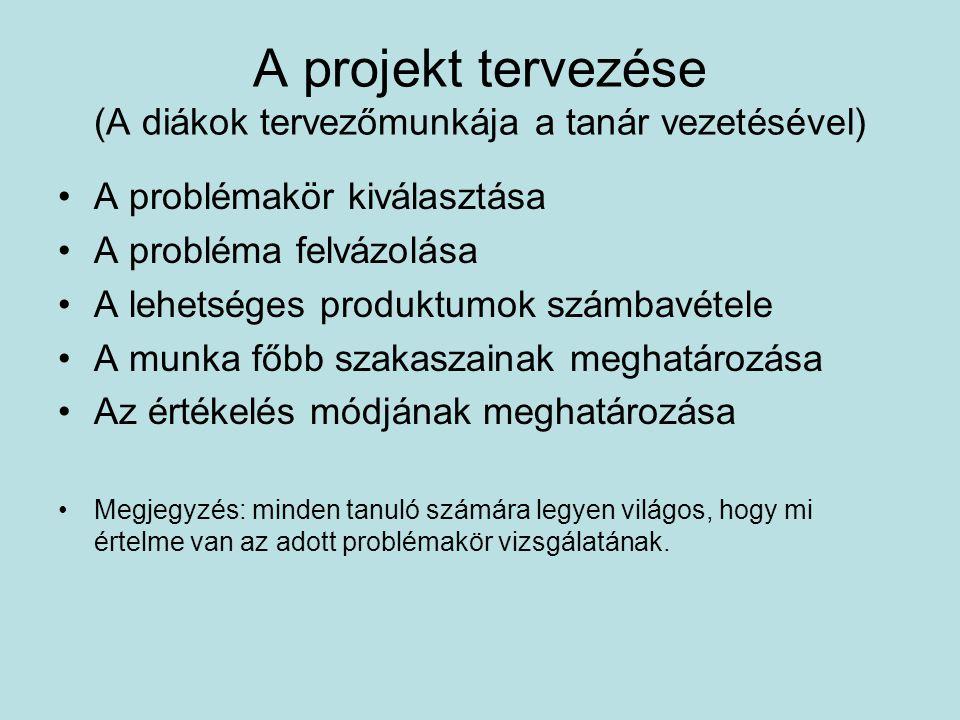 A projekt tervezése (A diákok tervezőmunkája a tanár vezetésével) A problémakör kiválasztása A probléma felvázolása A lehetséges produktumok számbavét