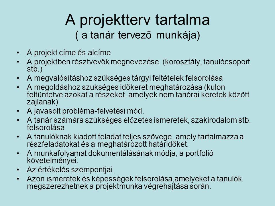 A projektterv tartalma ( a tanár tervező munkája) A projekt címe és alcíme A projektben résztvevők megnevezése. (korosztály, tanulócsoport stb.) A meg