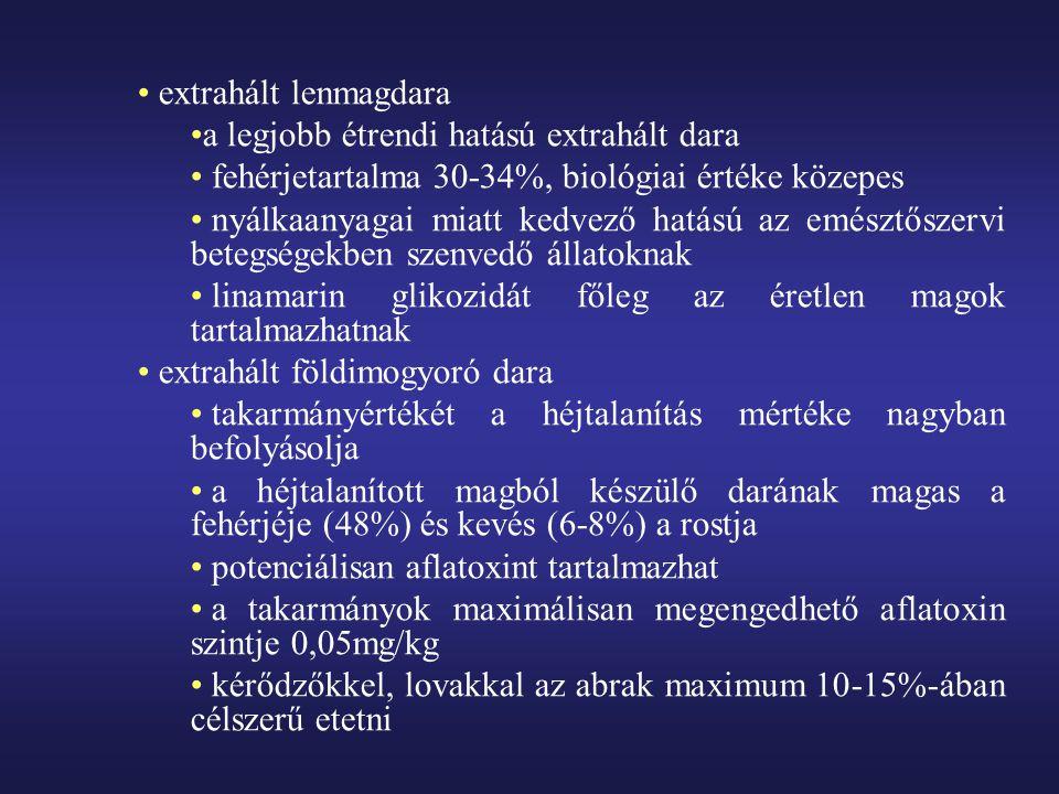 extrahált lenmagdara a legjobb étrendi hatású extrahált dara fehérjetartalma 30-34%, biológiai értéke közepes nyálkaanyagai miatt kedvező hatású az em