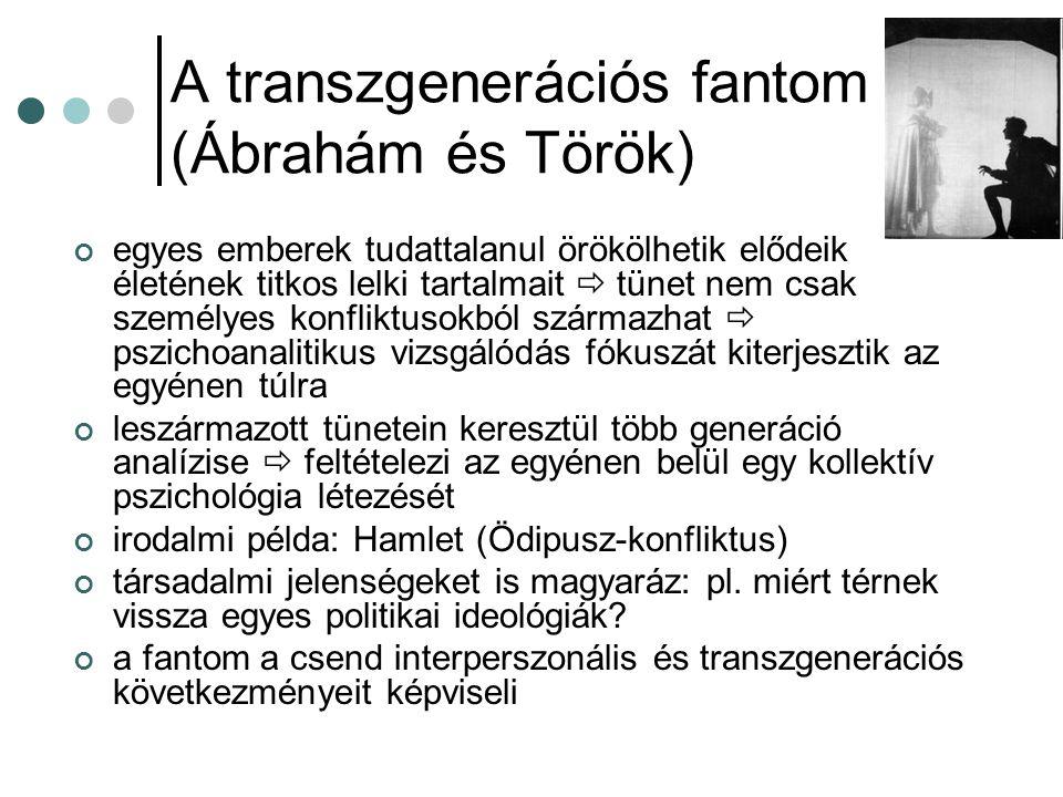 A transzgenerációs fantom (Ábrahám és Török) egyes emberek tudattalanul örökölhetik elődeik életének titkos lelki tartalmait  tünet nem csak személye