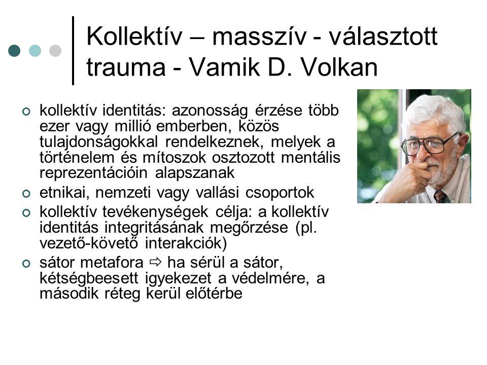 Kollektív – masszív - választott trauma - Vamik D. Volkan kollektív identitás: azonosság érzése több ezer vagy millió emberben, közös tulajdonságokkal