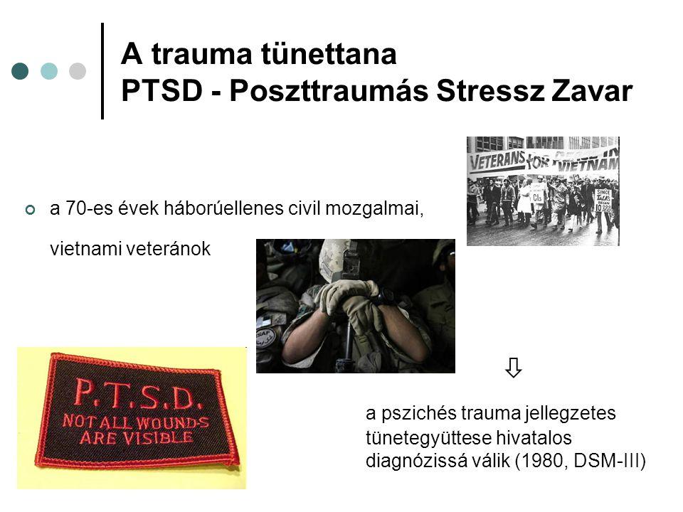 A trauma tünettana PTSD - Poszttraumás Stressz Zavar a 70-es évek háborúellenes civil mozgalmai, vietnami veteránok  a pszichés trauma jellegzetes tü