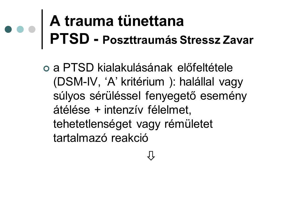 A trauma tünettana PTSD - Poszttraumás Stressz Zavar a PTSD kialakulásának előfeltétele (DSM-IV, 'A' kritérium ): halállal vagy súlyos sérüléssel feny