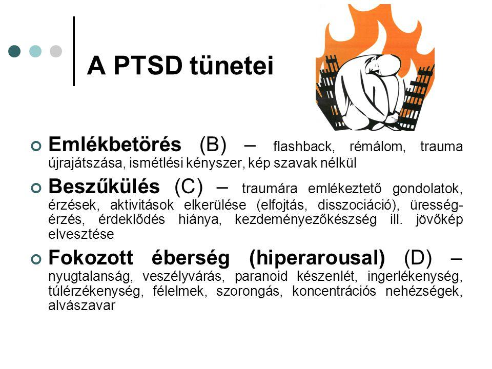 A PTSD tünetei Emlékbetörés (B) – flashback, rémálom, trauma újrajátszása, ismétlési kényszer, kép szavak nélkül Beszűkülés (C) – traumára emlékeztető