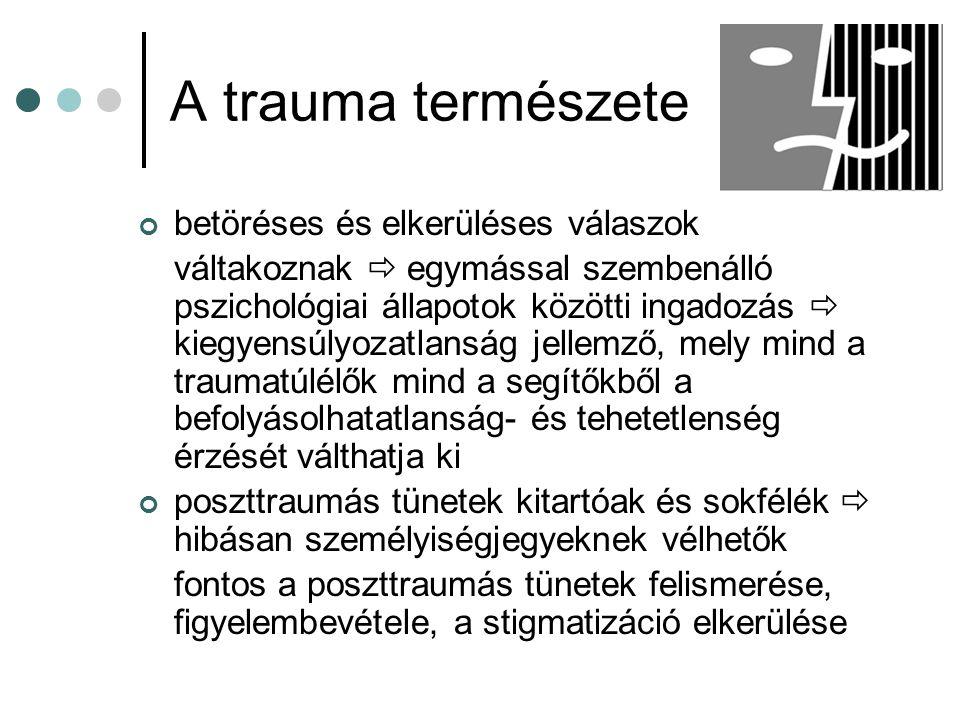 A trauma természete betöréses és elkerüléses válaszok váltakoznak  egymással szembenálló pszichológiai állapotok közötti ingadozás  kiegyensúlyozatl