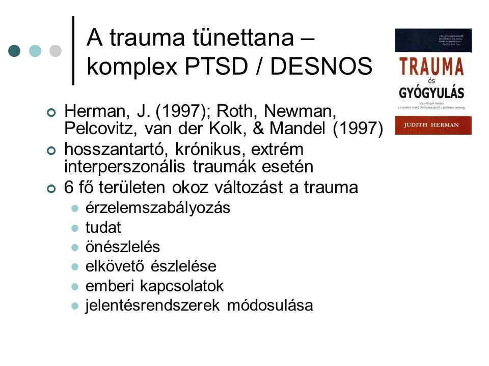 A trauma tünettana – komplex PTSD / DESNOS Herman, J. (1997); Roth, Newman, Pelcovitz, van der Kolk, & Mandel (1997) hosszantartó, krónikus, extrém in