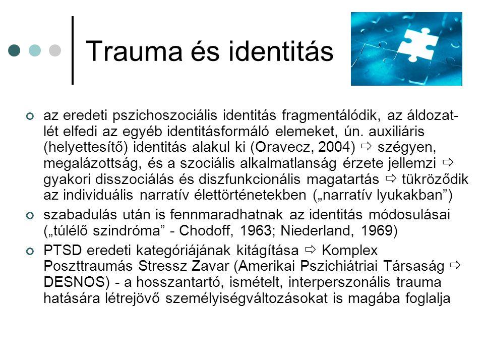 Trauma és identitás az eredeti pszichoszociális identitás fragmentálódik, az áldozat- lét elfedi az egyéb identitásformáló elemeket, ún. auxiliáris (h