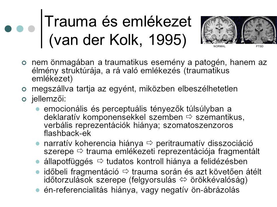 Trauma és emlékezet (van der Kolk, 1995) nem önmagában a traumatikus esemény a patogén, hanem az élmény struktúrája, a rá való emlékezés (traumatikus