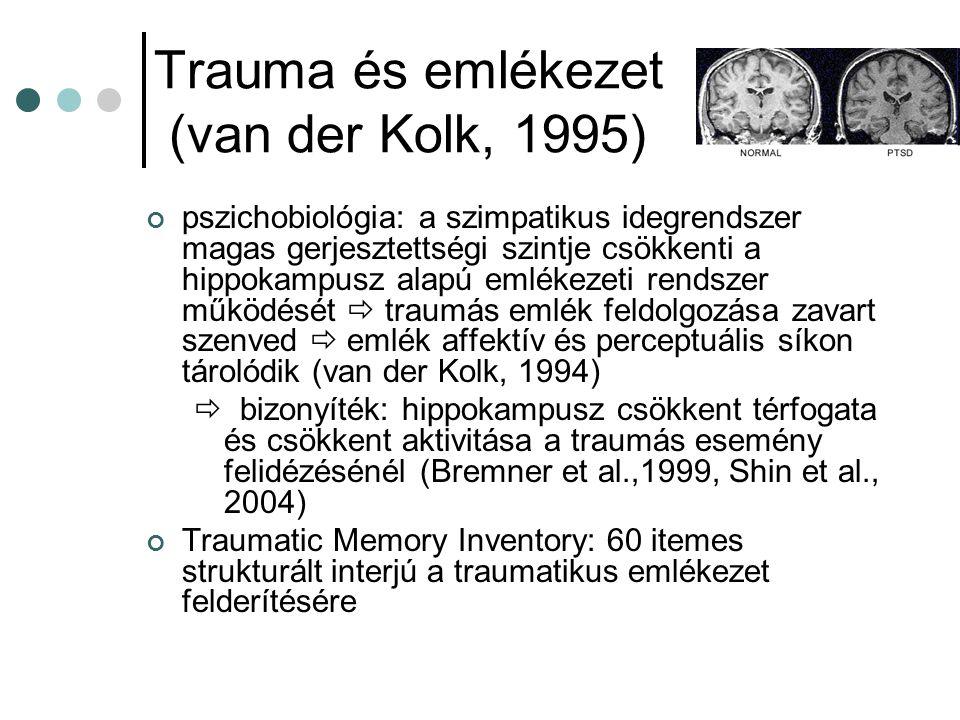Trauma és emlékezet (van der Kolk, 1995) pszichobiológia: a szimpatikus idegrendszer magas gerjesztettségi szintje csökkenti a hippokampusz alapú emlé
