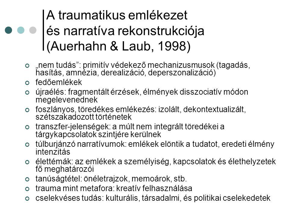 """A traumatikus emlékezet és narratíva rekonstrukciója (Auerhahn & Laub, 1998) """"nem tudás"""": primitív védekező mechanizusmusok (tagadás, hasítás, amnézia"""