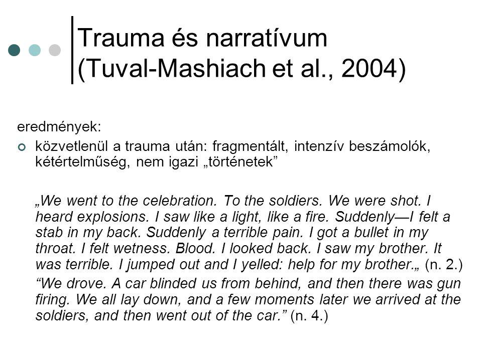 """Trauma és narratívum (Tuval-Mashiach et al., 2004) eredmények: közvetlenül a trauma után: fragmentált, intenzív beszámolók, kétértelműség, nem igazi """""""