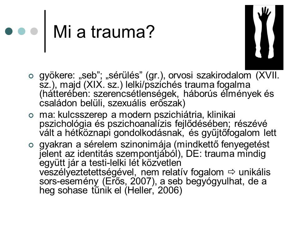 """Mi a trauma? gyökere: """"seb""""; """"sérülés"""" (gr.), orvosi szakirodalom (XVII. sz.), majd (XIX. sz.) lelki/pszichés trauma fogalma (hátterében: szerencsétle"""