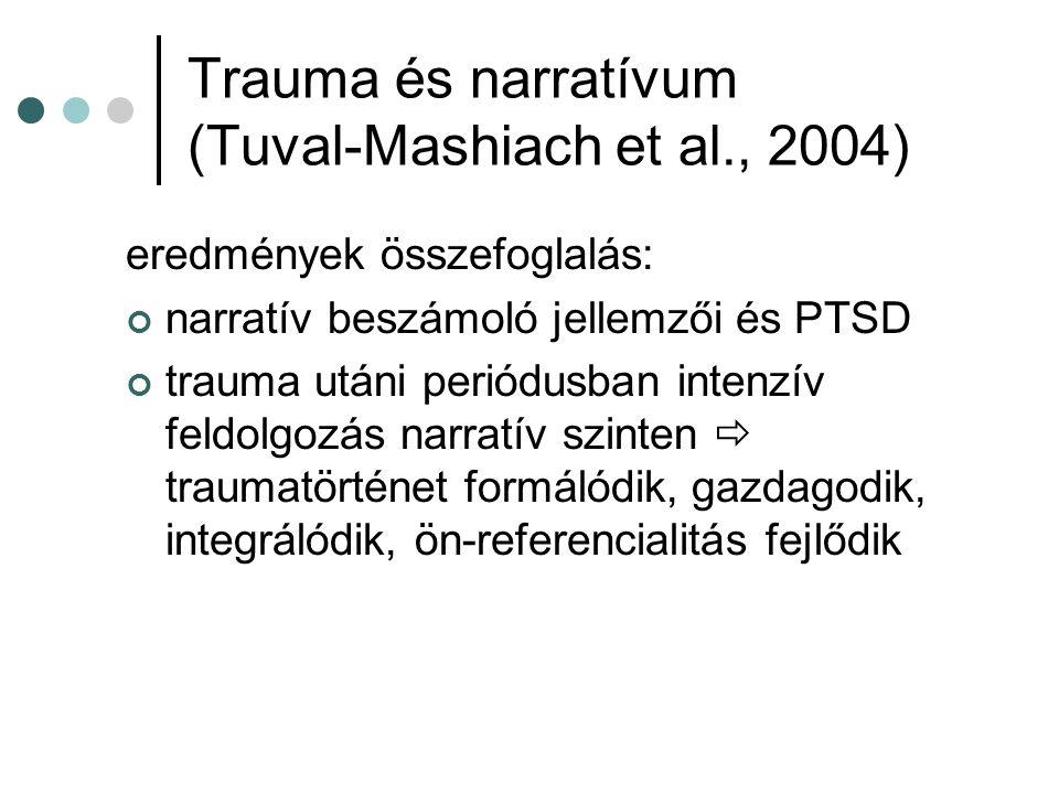 Trauma és narratívum (Tuval-Mashiach et al., 2004) eredmények összefoglalás: narratív beszámoló jellemzői és PTSD trauma utáni periódusban intenzív fe