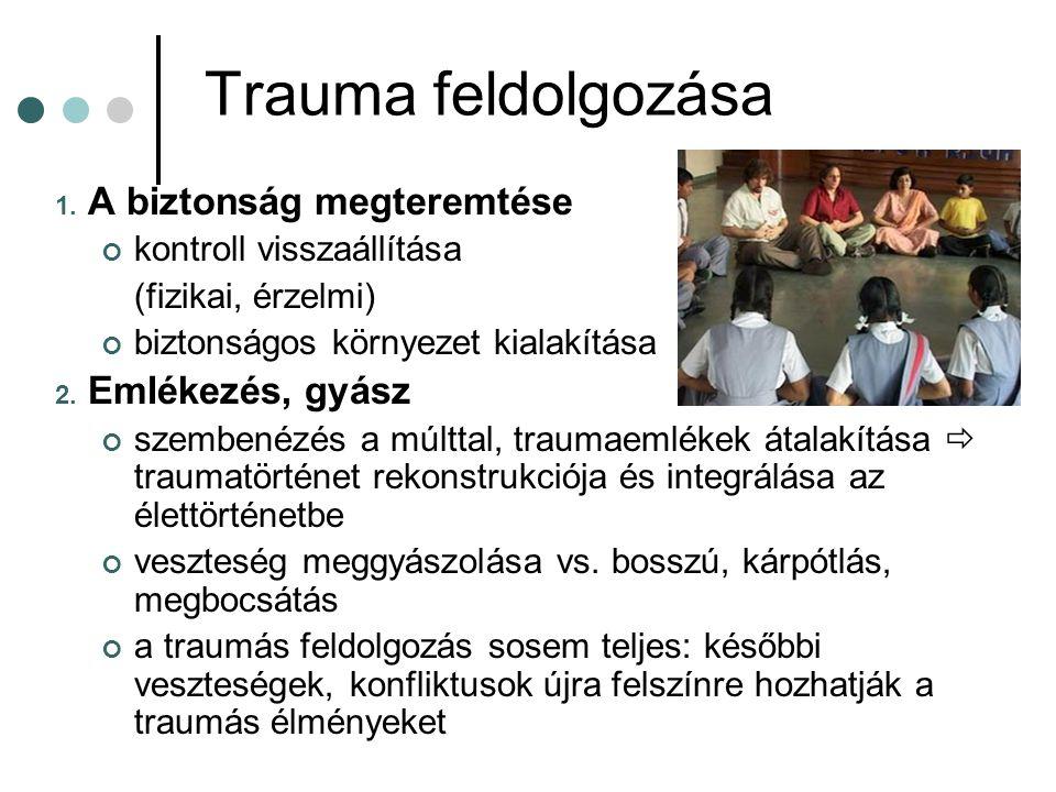 Trauma feldolgozása 1. A biztonság megteremtése kontroll visszaállítása (fizikai, érzelmi) biztonságos környezet kialakítása 2. Emlékezés, gyász szemb