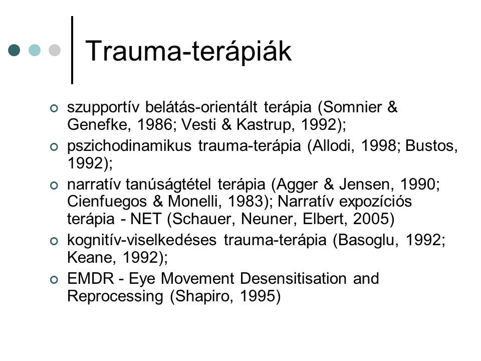 Trauma-terápiák szupportív belátás-orientált terápia (Somnier & Genefke, 1986; Vesti & Kastrup, 1992); pszichodinamikus trauma-terápia (Allodi, 1998;