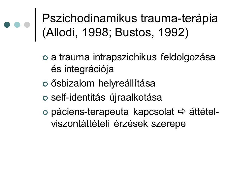 Pszichodinamikus trauma-terápia (Allodi, 1998; Bustos, 1992) a trauma intrapszichikus feldolgozása és integrációja ősbizalom helyreállítása self-ident