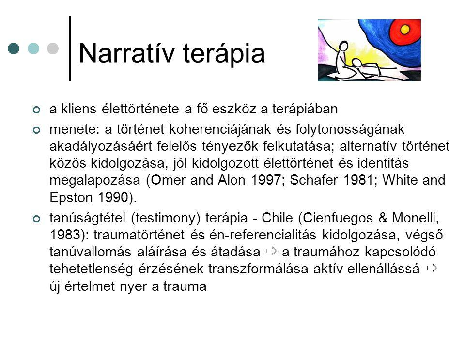 Narratív terápia a kliens élettörténete a fő eszköz a terápiában menete: a történet koherenciájának és folytonosságának akadályozásáért felelős tényez