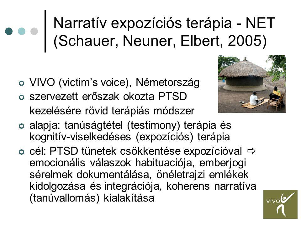 Narratív expozíciós terápia - NET (Schauer, Neuner, Elbert, 2005) VIVO (victim's voice), Németország szervezett erőszak okozta PTSD kezelésére rövid t