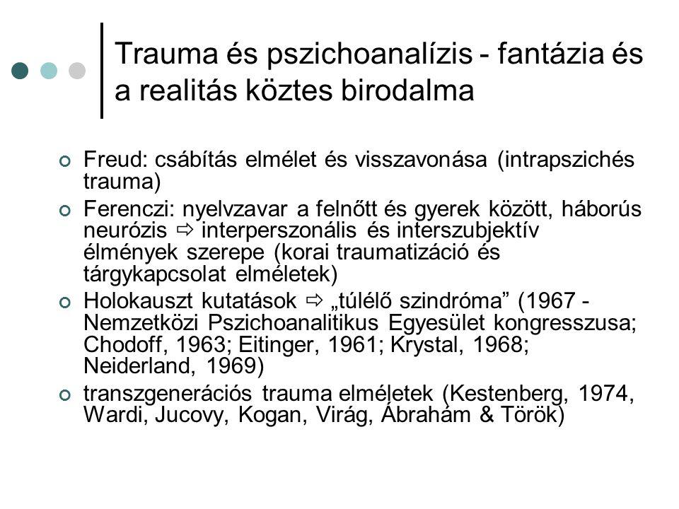 Trauma és pszichoanalízis - fantázia és a realitás köztes birodalma tudatalatti agresszív fantáziákat hoz felszínre a valós trauma ismétlési kényszer és halálösztön primitív elhárítómechanizmusok (elfojtás, tagadás, disszociáció, hasítás, projektív identifikáció) regresszió a legkorábbi fejlődési szakaszba azonosulás az agresszorral  súlyos változások az áldozat én-ideáljában omnipotens védekezés  túlélő bűntudat