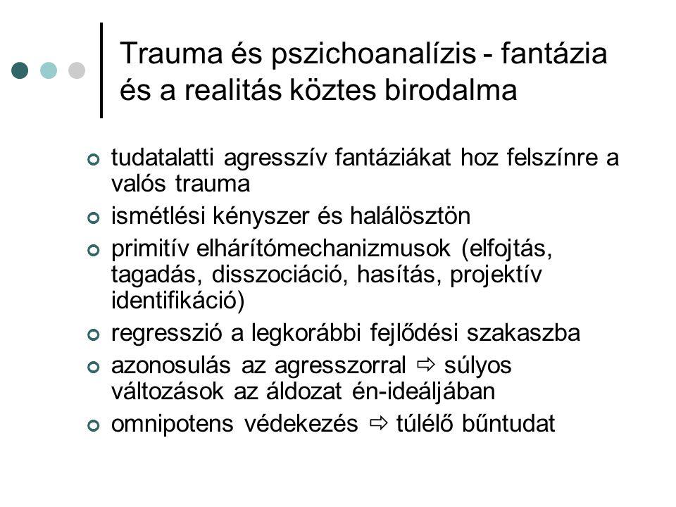Trauma és pszichoanalízis - fantázia és a realitás köztes birodalma tudatalatti agresszív fantáziákat hoz felszínre a valós trauma ismétlési kényszer