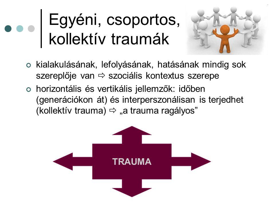 Egyéni, csoportos, kollektív traumák kialakulásának, lefolyásának, hatásának mindig sok szereplője van  szociális kontextus szerepe horizontális és v