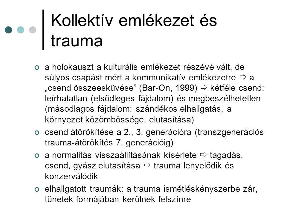 """A trauma transz- generációs modellje második generációs tünetcsoport: trauma átörökítése tudattalan módon  mintha maguk is megélték volna a traumatikus eseményt (képek, álmok, fantáziák kísértése) személyiségzavarok, neurotikus, pszichotikus és pszichoszomatikus tünetek, bűntudat, kapcsolati zavarok háterrében: szülők ambivalens viszonya a gyerekhez: túlzott óvás és leválás gátlása  saját elvesztett tárgyainak pótléka, és saját sérült selfjének gyógyítására tett kísérlet gyerekre ráruházott feladatok és szerepek lappangó titok (""""emlékmécses szerep - Wardi, 1995)  a szülő múltjához való fixálódás gátolja a self autonómiáját lelki sérülékenység, de magasabb teljesítménymotiváció és empátiás készség  szalutogén modell (Antonovsky, 1987)"""