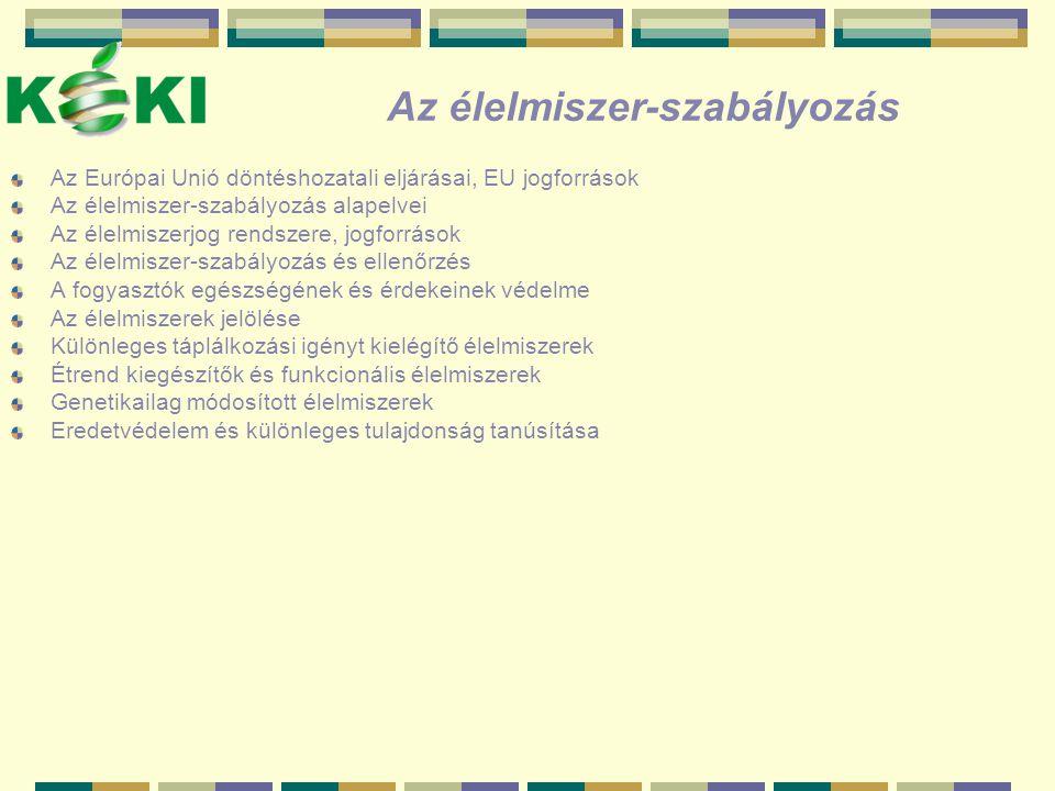 AZ ÉLELMISZERSZABÁLYOZÁS HIERARCHIÁJA MAGYARORSZÁGON EU élelmiszerszabályozás EU Tanács EU Bizottság EU Parlament Új magyar Élelmiszertörvény az EU törvénykezéssel harmonizálva (2003.