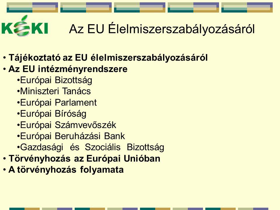 Az EU Élelmiszerszabályozásáról Tájékoztató az EU élelmiszerszabályozásáról Az EU intézményrendszere Európai Bizottság Miniszteri Tanács Európai Parlament Európai Bíróság Európai Számvevőszék Európai Beruházási Bank Gazdasági és Szociális Bizottság Törvényhozás az Európai Unióban A törvényhozás folyamata