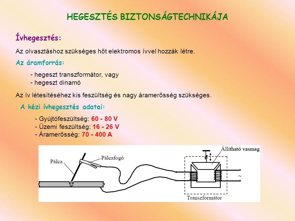 HEGESZTÉS BIZTONSÁGTECHNIKÁJA A legfőbb veszélyek és azok okai:   Tűz- és robbanásveszély   nyomás alatt palackban tárolt gáz (C 2 H 2, H 2 )   nagynyomású oxigén   nem szabályozott, ellenőrizetlen gázfejlődés   robbanókeverék kialakulásának lehetősége   nyílt lánggal égő hegesztőpisztoly   visszaégés, visszarobbanás veszélye   nagy hőfokú folyékony fém, salak   Ártalmas sugárzások   villamos ív fényhatása   Ibolyántúli és infravörös sugárzás   elektromágneses és egyéb nagy energiájú sugárzások A hegesztés veszélyessége a   a felhasznált energiától   hegesztő berendezésből   hegesztésnél használt anyagokból   hegesztési munkafolyamatból származhat