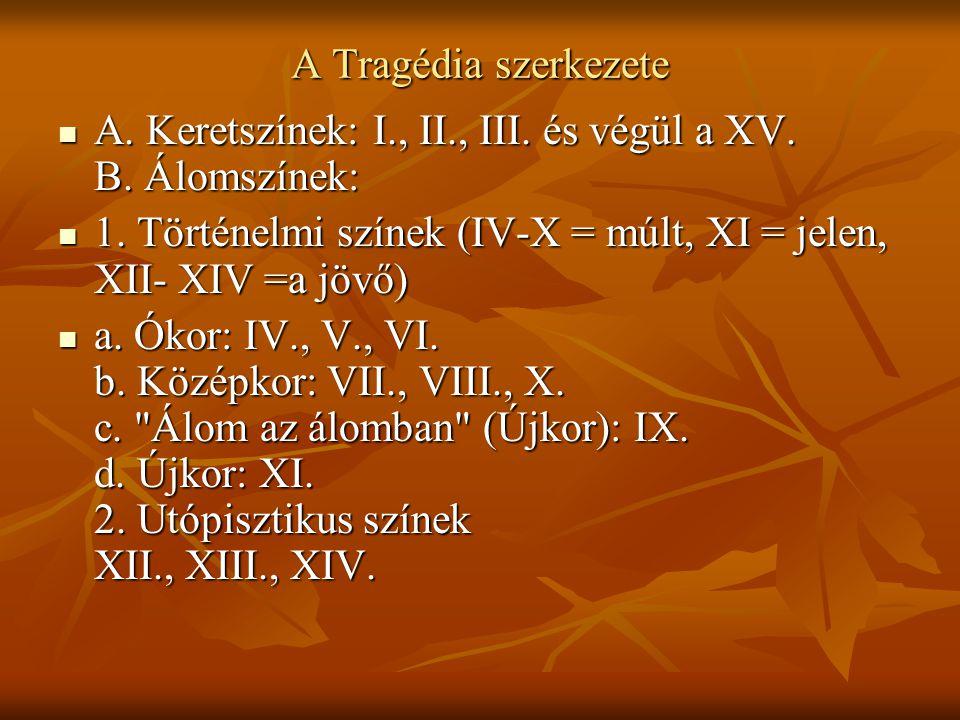 A Tragédia szerkezete A. Keretszínek: I., II., III. és végül a XV. B. Álomszínek: A. Keretszínek: I., II., III. és végül a XV. B. Álomszínek: 1. Törté