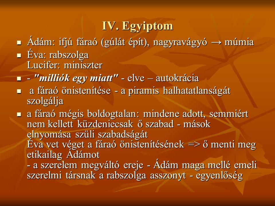 IV. Egyiptom Ádám: ifjú fáraó (gúlát épít), nagyravágyó → múmia Ádám: ifjú fáraó (gúlát épít), nagyravágyó → múmia Éva: rabszolga Lucifer: miniszter É