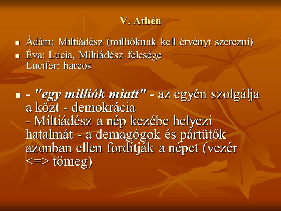 V. Athén Ádám: Miltiádész (millióknak kell érvényt szerezni) Ádám: Miltiádész (millióknak kell érvényt szerezni) Éva: Lucia, Miltiádész felesége Lucif