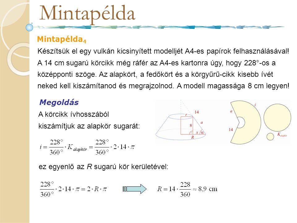 Mintapélda Mintapélda 4 Készítsük el egy vulkán kicsinyített modelljét A4-es papírok felhasználásával! A 14 cm sugarú körcikk még ráfér az A4-es karto