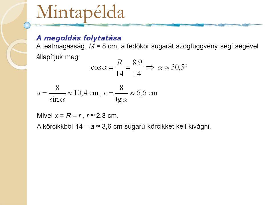 Mintapélda A megoldás folytatása A testmagasság: M = 8 cm, a fedőkör sugarát szögfüggvény segítségével állapítjuk meg: Mivel x = R – r, r  2,3 cm. A