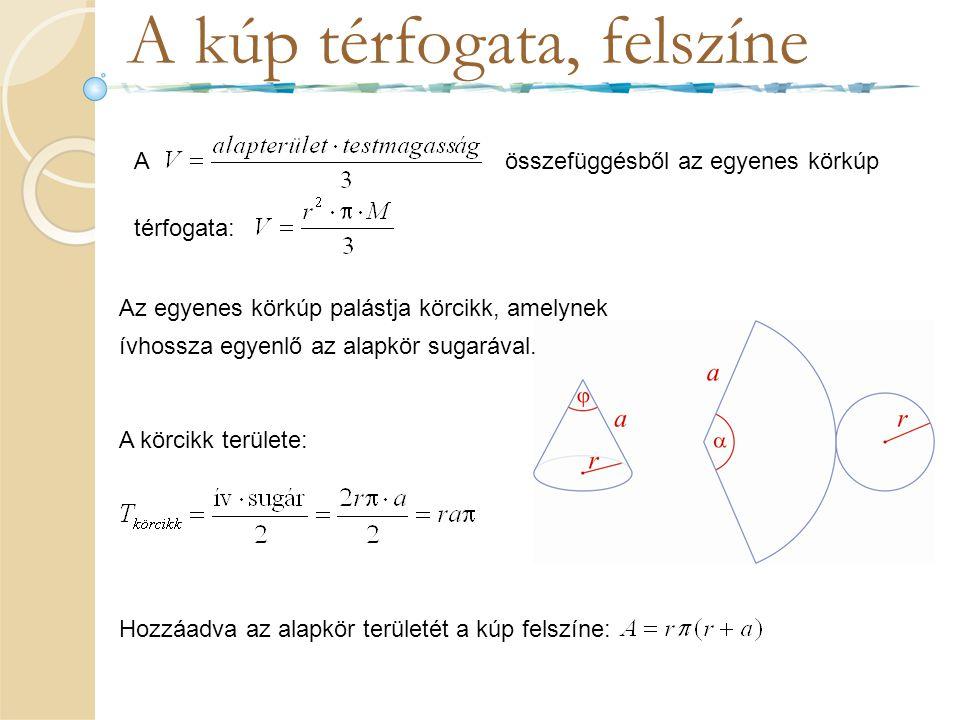 A kúp térfogata, felszíne Aösszefüggésből az egyenes körkúp térfogata: Az egyenes körkúp palástja körcikk, amelynek ívhossza egyenlő az alapkör sugará