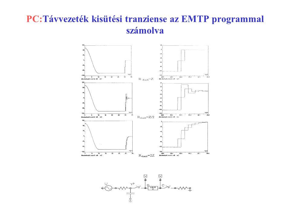 PC:Távvezeték kisütési tranziense az EMTP programmal számolva