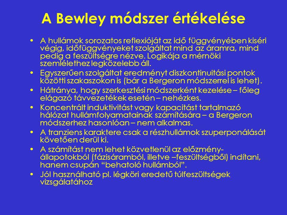 A Bewley módszer értékelése A hullámok sorozatos reflexióját az idő függvényében kiséri végig, időfüggvényeket szolgáltat mind az áramra, mind pedig a
