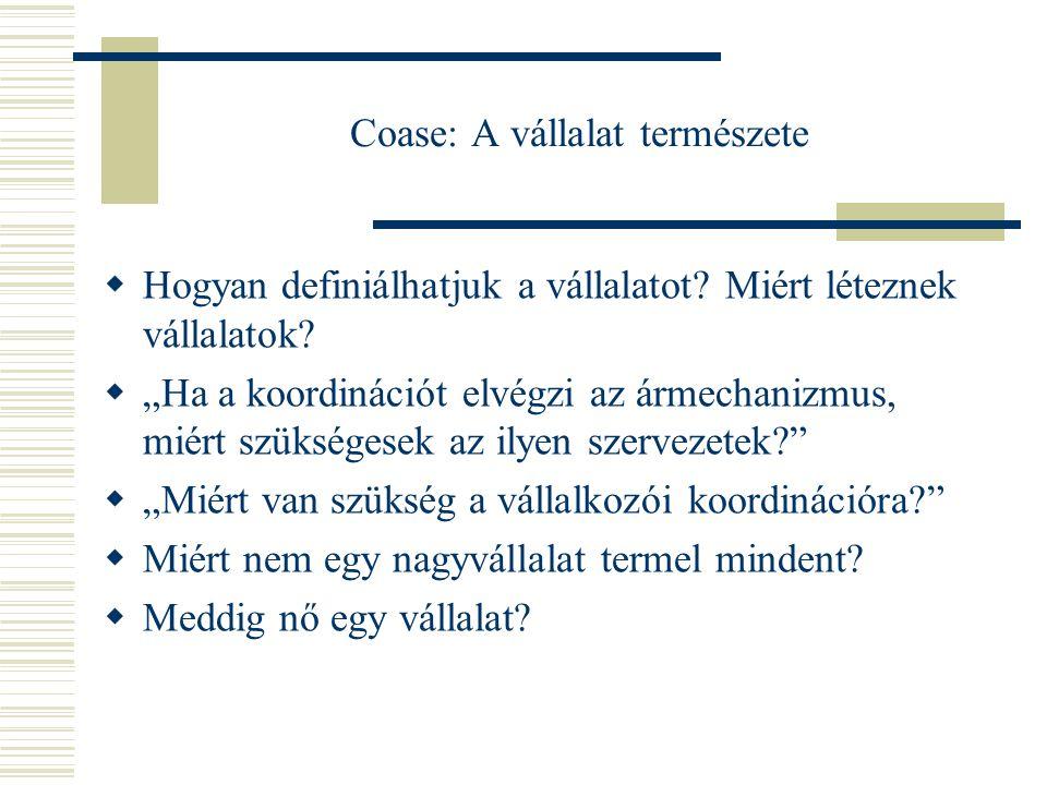 Tranzakciós költségek  Miért léteznek vállalatok? Ronald H. Coase : The Nature of the Firm, 1937 Ronald H. Coase