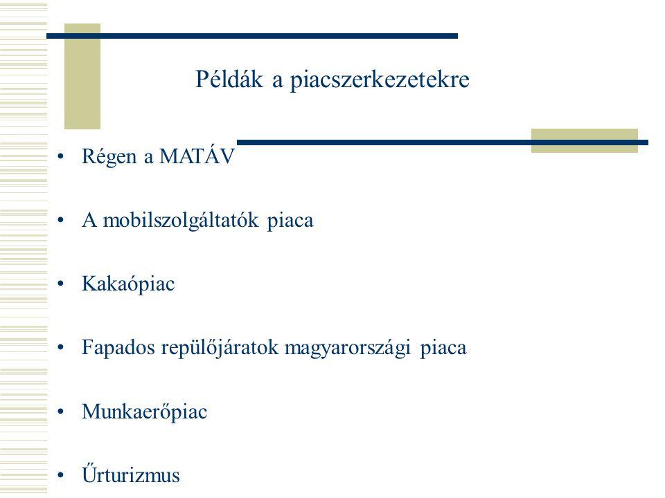 Példák a piacszerkezetekre Jól működő tőzsdék MÁV Rendőrség szondavásárlása