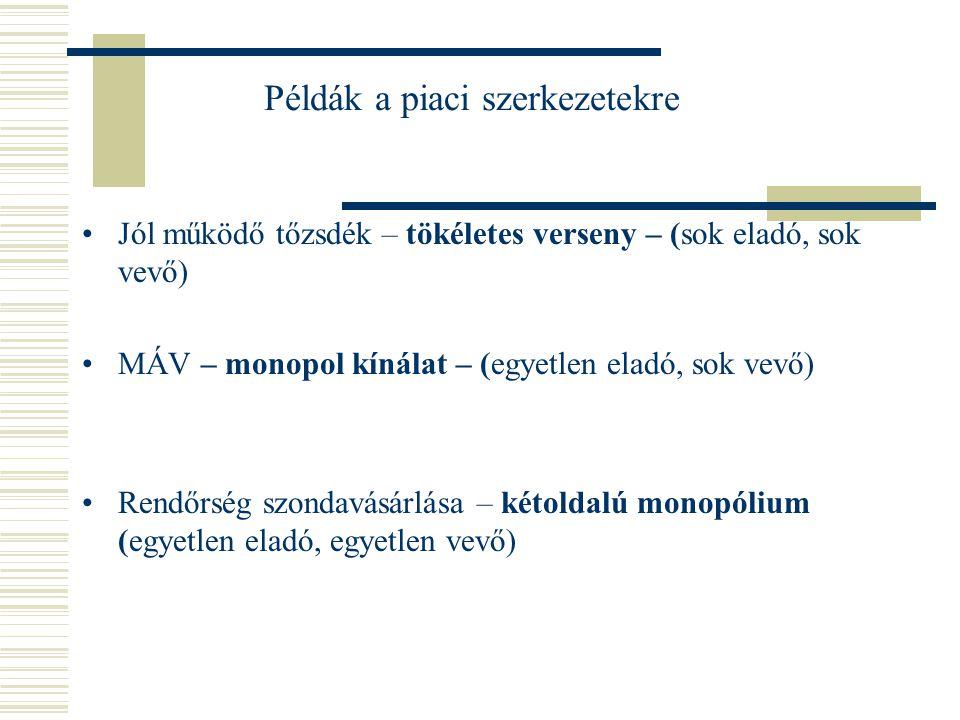 Példák a piacszerkezetekre Régen a MATÁV A mobilszolgáltatók piaca Kakaópiac Fapados repülőjáratok magyarországi piaca Munkaerőpiac Űrturizmus